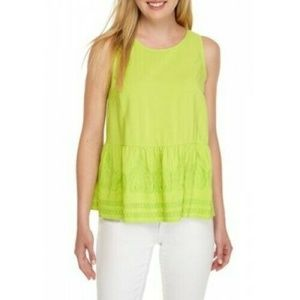 Crown & Ivy Lime Green Embroidered Hem Peplum Top